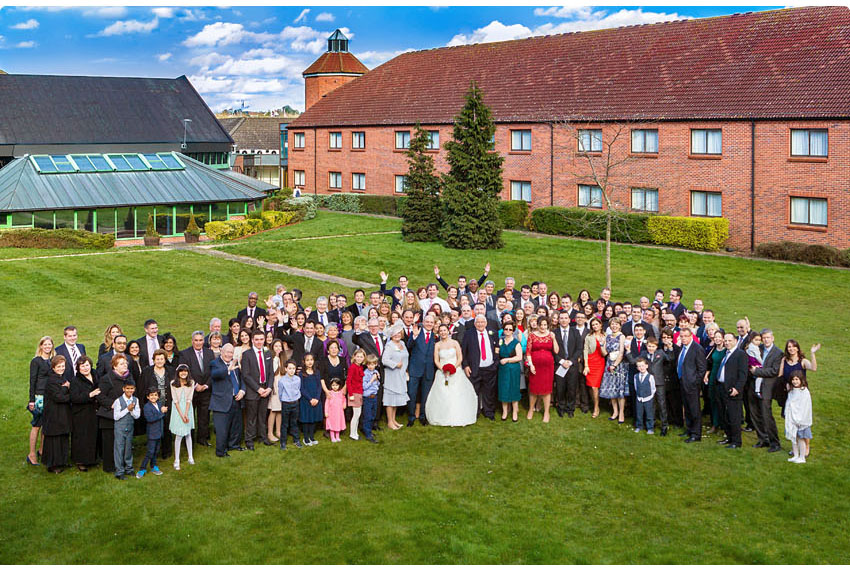 A group shot of the guests - Wedding at Waltham Abbey Marriott Hotel 04