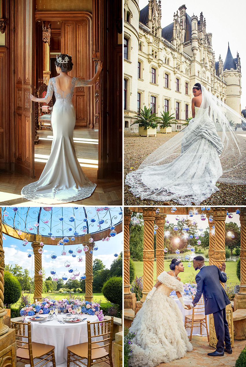 Four photos with three different wedding dresses in front of the Chateau de Challain