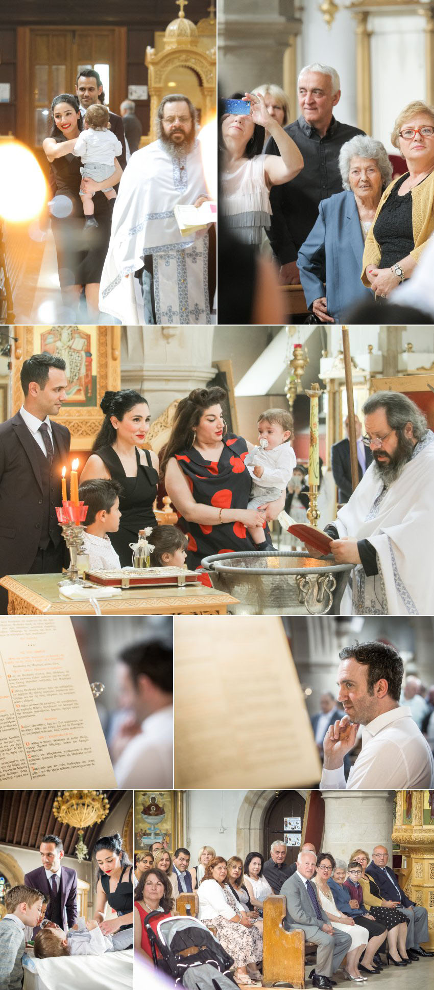 Orthodox Baptism photographs when child is into the font