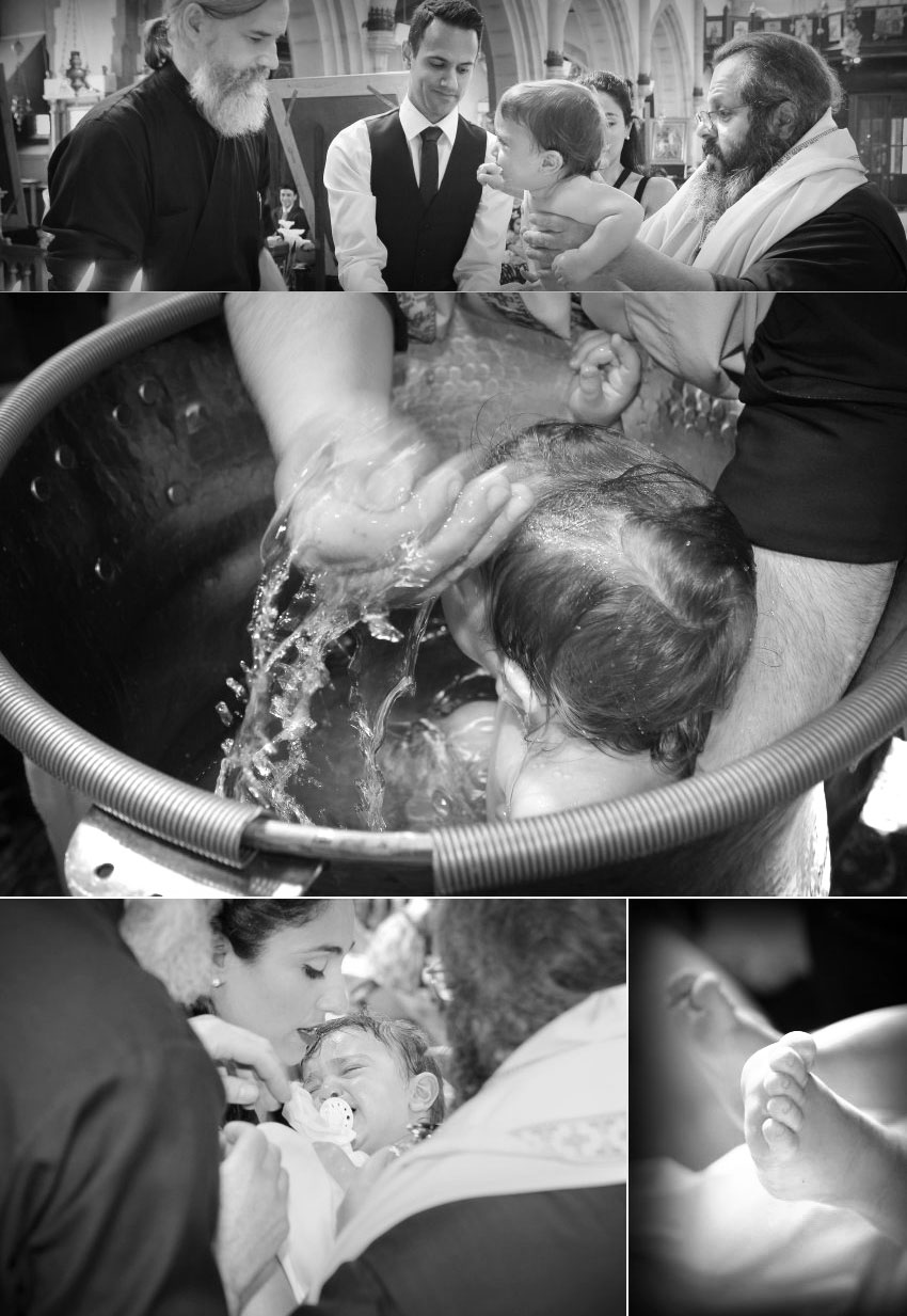 Photographs when the child is being baptised into the font