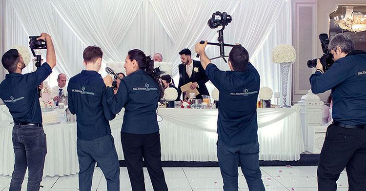 Team of photographers and cameramen