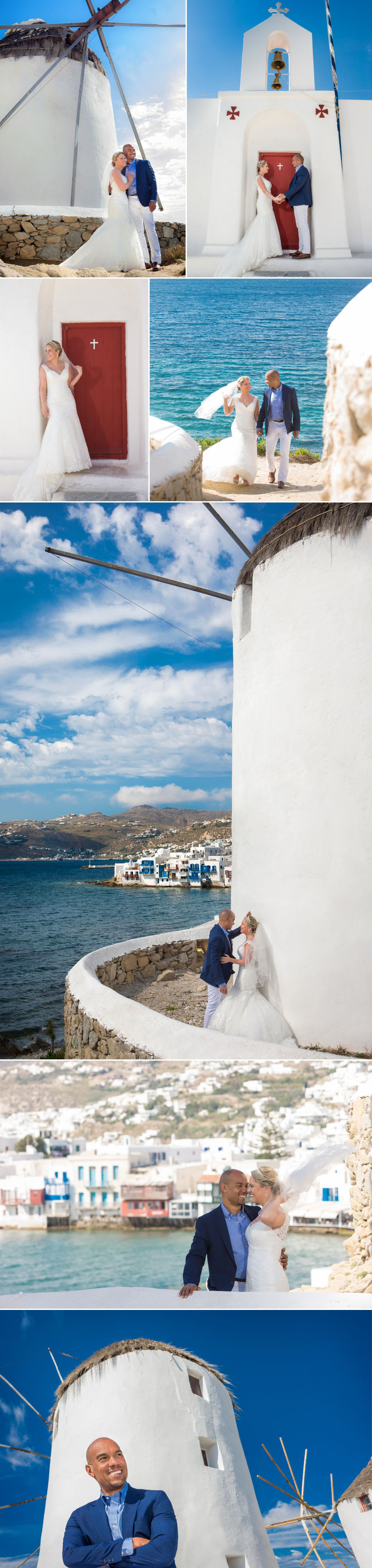 Couple posing during their wedding photography in Mykonos
