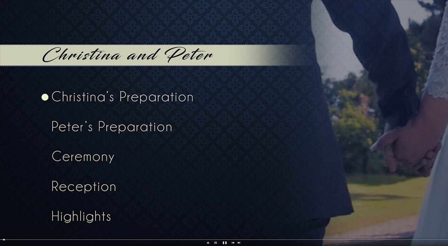 A BluRay menu sample of a wedding videography