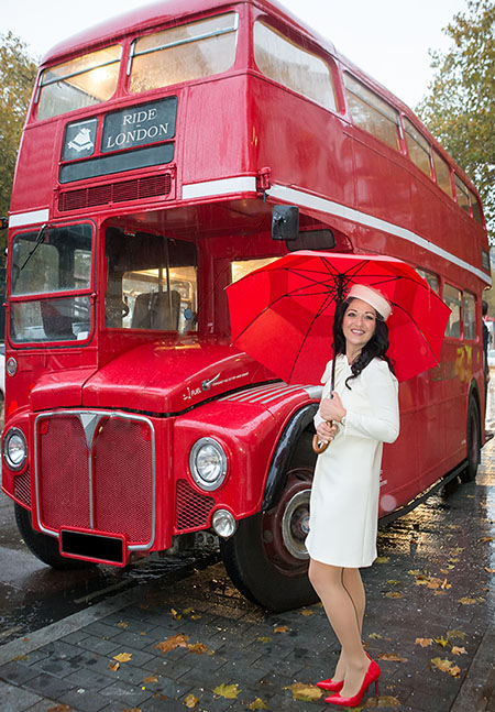 A London's red bus used as photo shoot backround
